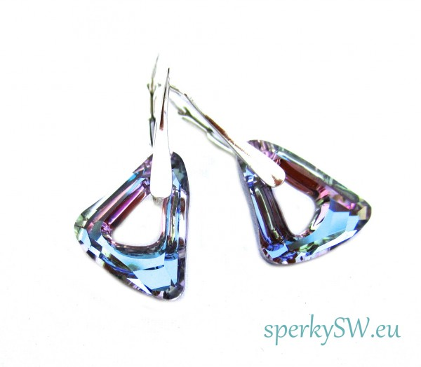 Stříbrné náušnice Swarovski elements organic Cosmic triangle bermuda blue OR9520 (2)