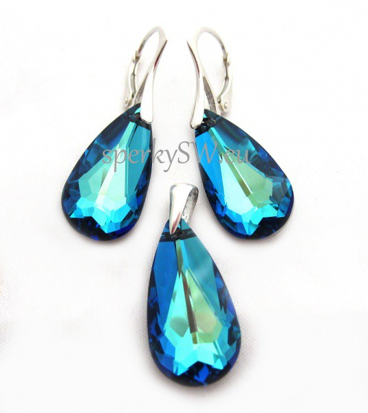 Souprava Swarovski elements pear shaped, Ag925, crystal silver night (3)