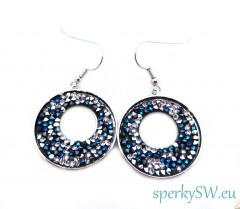 Náušnice Swarovski elements rocks bermuda blue pepper R5960