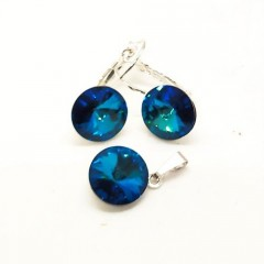 Souprava Swarovski elements rivoli, bermuda blue RS11002