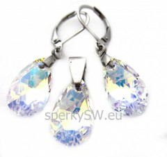 Set chirurgická ocel Swarovski elements pear crystal AB CH52145